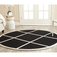 Safavieh Handmade Cambridge Moroccan Black Wool Diamond Pattern Rug - 6' Round