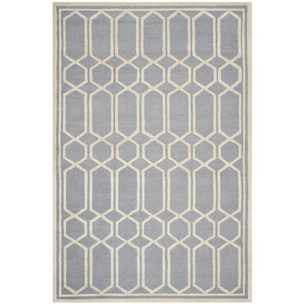 Safavieh Handmade Moroccan Cambridge Geometric-pattern Silver Wool Rug - 8' x 10'