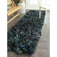 Safavieh Handmade Decorative Rio Shag Green/ Blue Runner (2'3 x 9') - 2'3 x 9'