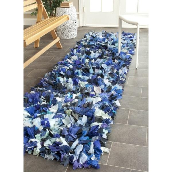 Safavieh Handmade Decorative Rio Shag Blue/ Multi Runner (2'3 x 11') - 2'3 x 11'
