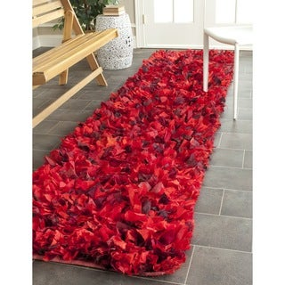 Safavieh Hand-woven Chic Red Shag Rug (2'3 x 9')
