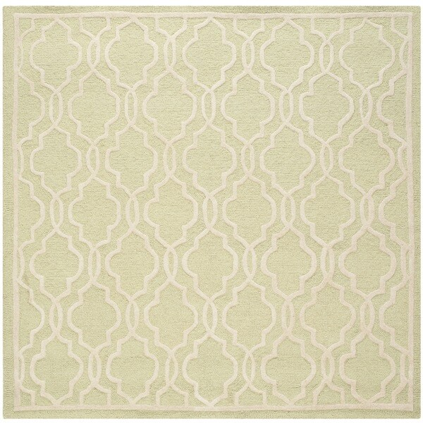 Safavieh Handmade Cambridge Moroccan Light-Green Angular-Motif Wool Rug (6' Square)