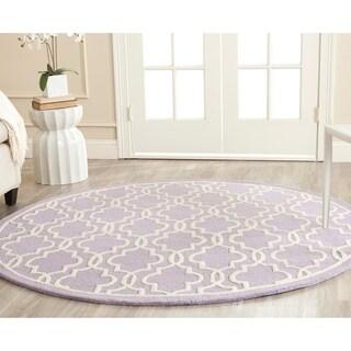 Safavieh Handmade Moroccan Cambridge Lavender Wool Rug (6' Round)