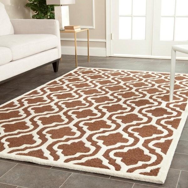 Safavieh Handmade Cambridge Moroccan Dark Brown/Ivory Wool Rug (5' x 8')