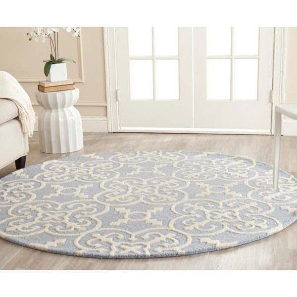 Safavieh Handmade Cambridge Moroccan Light Blue Tufted Wool Rug (6' Round)
