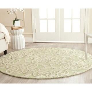 Safavieh Handmade Cambridge Moroccan Light Green Wool Rug with High/Low Construction (6' Round)