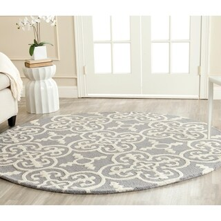 Safavieh Handmade Cambridge Moroccan Blue/ Silver Casual Wool Rug (6' Round) - 6'