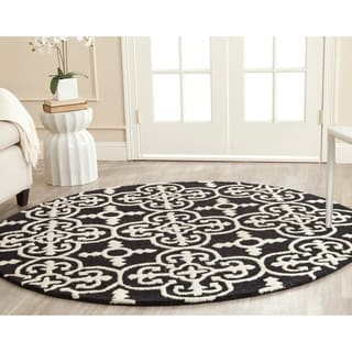 Safavieh Handmade Cambridge Moroccan Black Wool Cross Pattern Rug (6' x 6' Round)