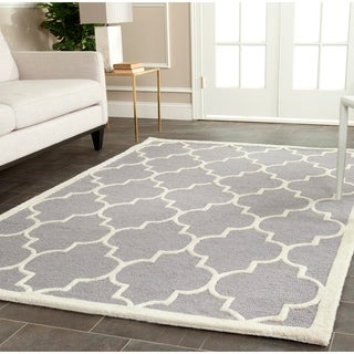 Contemporary Safavieh Handmade Cambridge Moroccan Silver Wool Rug (4' x 6')
