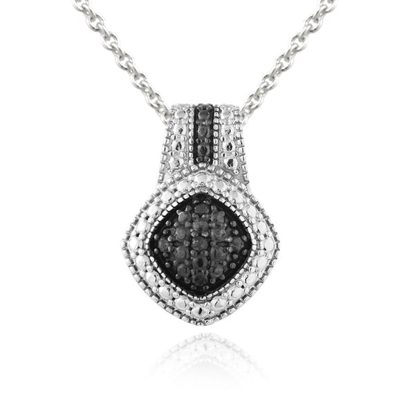 DB Designs Rhodium-plated 1/10ct TDW Black Diamond Necklace. Opens flyout.