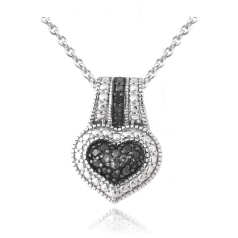 DB Designs Rhodium-plated 1/10ct TDW Black Diamond Heart Necklace