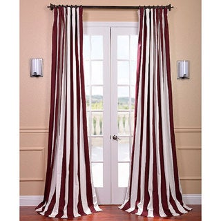 Exclusive Fabrics Cabana Burgundy Stripe Cotton Curtain Panel