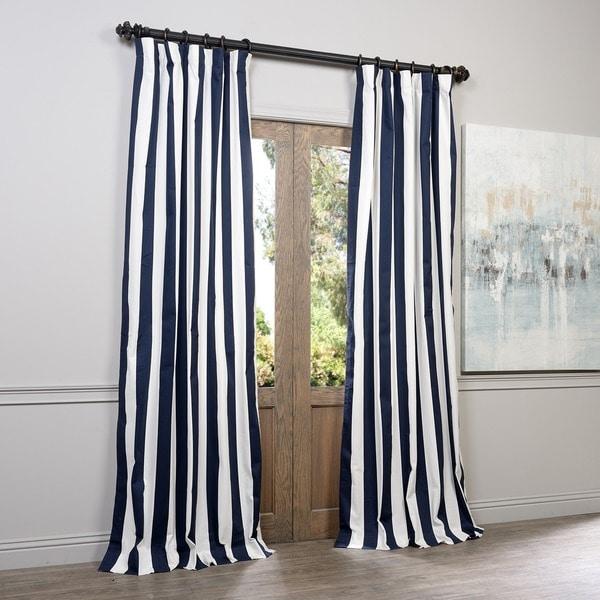 Exclusive Fabrics Cabana Navy Stripe Cotton Curtain Panel