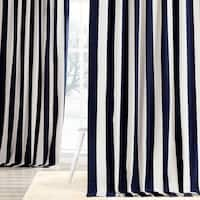 Exclusive Fabrics Cabana Navy Cotton Striped Curtain Panel