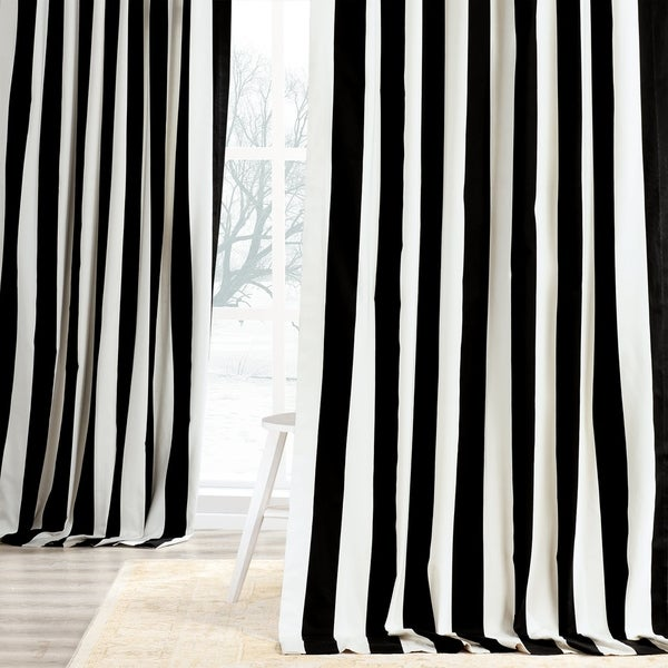 Exclusive Fabrics Cabana Black Stripe Cotton Curtain Panel. Opens flyout.