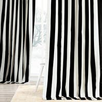 Exclusive Fabrics Cabana Black Stripe Cotton Curtain Panel
