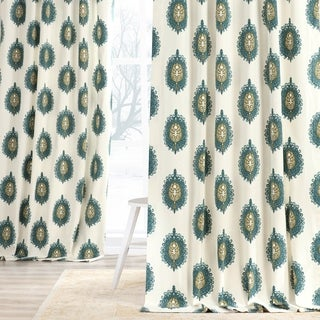 Exclusive Fabrics Teal Mayan Printed Cotton Curtain Panel