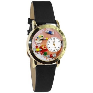 Whimsical Artist Black Leather Watch (Option: Gold)
