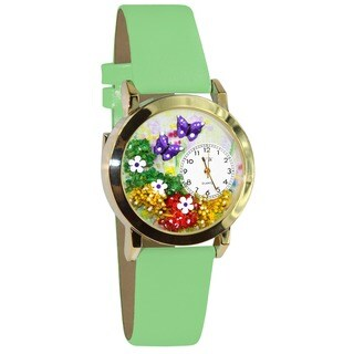 Whimsical Butterflies Green Leather Watch