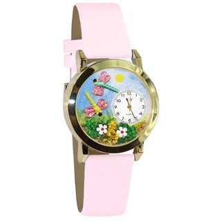 Whimsical Women's Dragonflies Pink Leather Watch