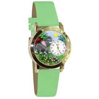 Elephant Green Leather Watch