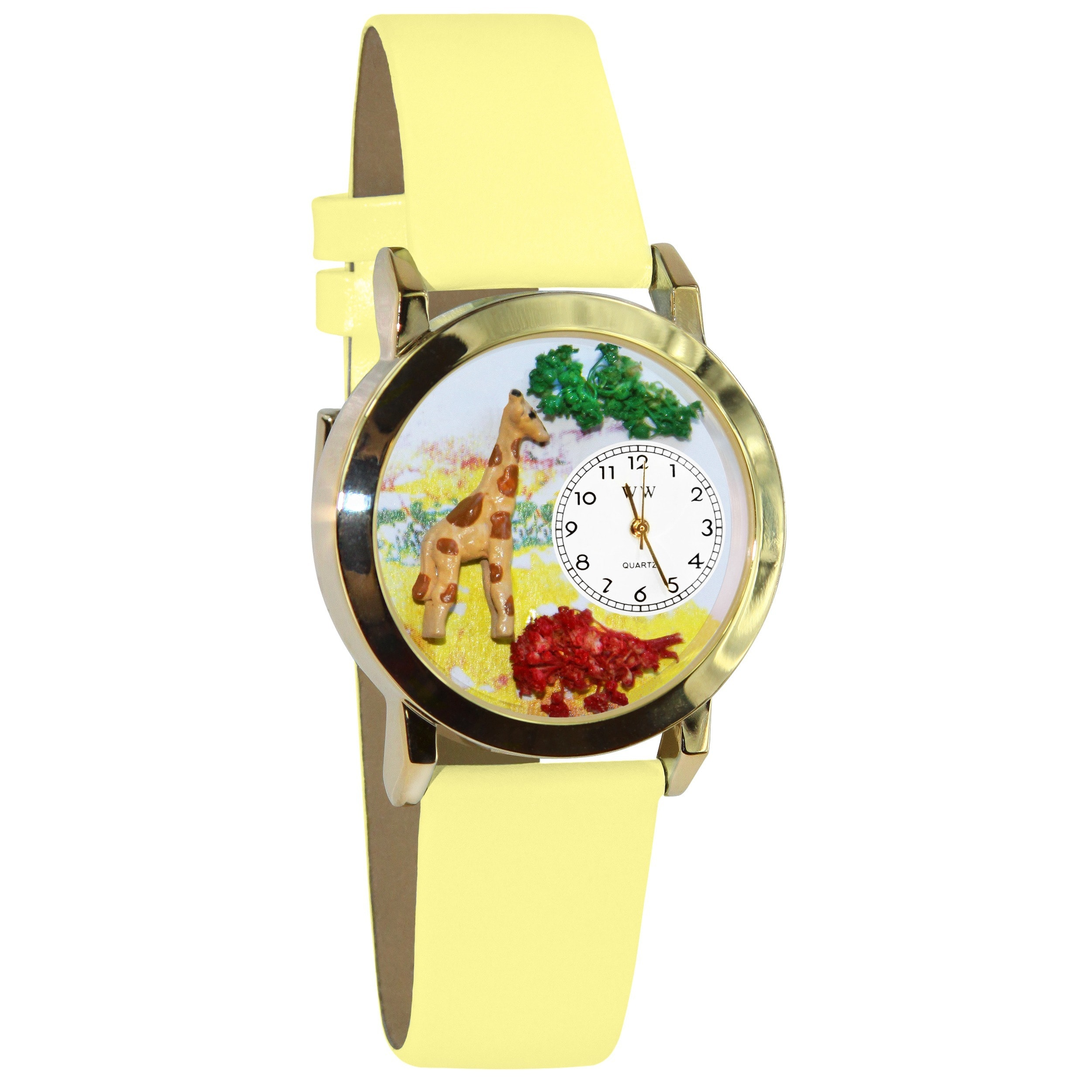 Whimsical Giraffe Yellow Leather Watch (Gold), Women's, W...