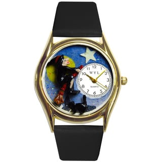 Halloween Flying Witch Black Leather Watch
