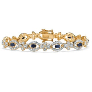 PalmBeach 3.15 TCW Genuine Midnight Blue Sapphire Diamond Accent 14k Yellow Gold-Plated Link Bracelet 7 1/4""