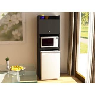 Ameriwood Home Black Stipple Refrigerator Storage Cabinet