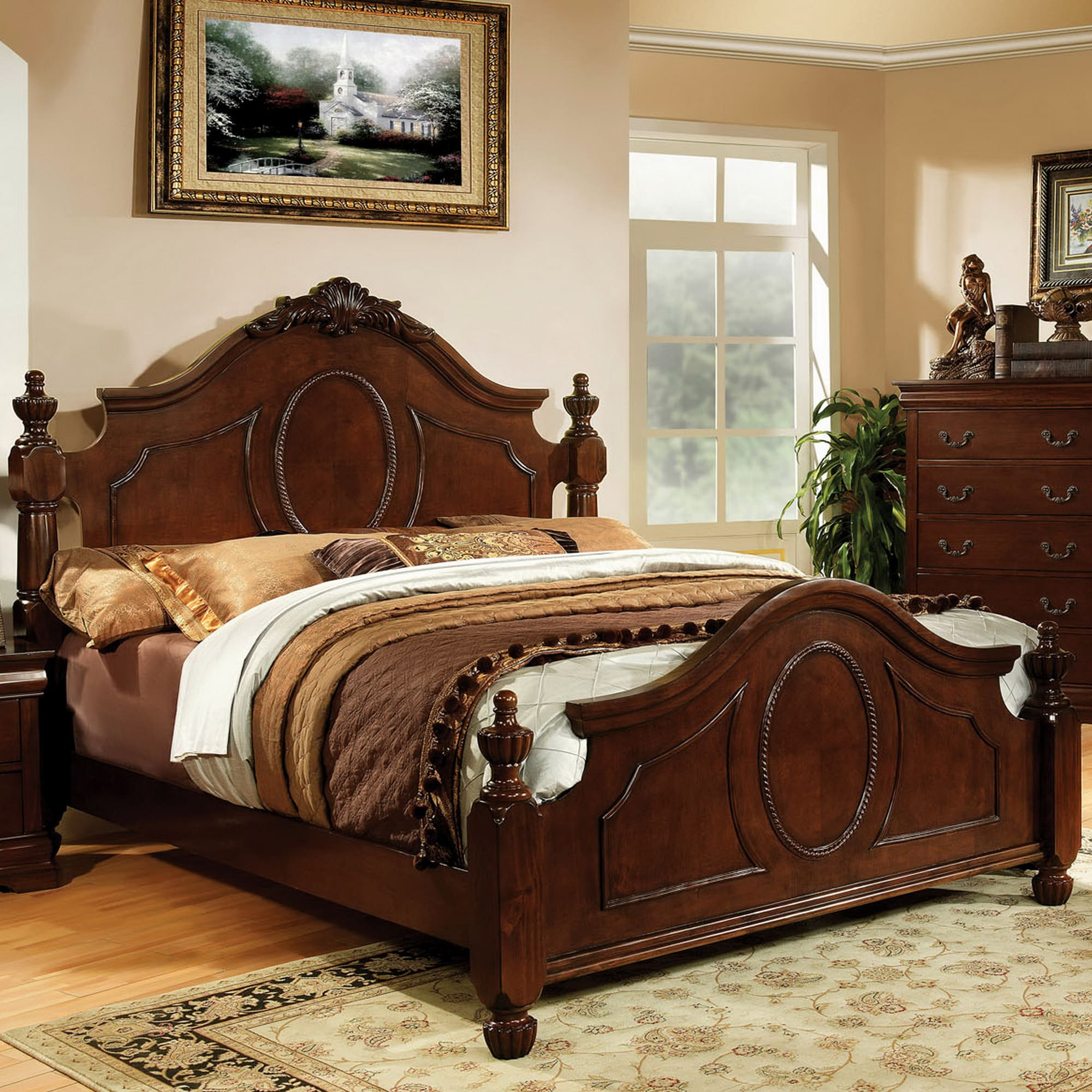 Luxurious Traditional Queen Warm Cherry Bed by FOA (Cal. King Bed)