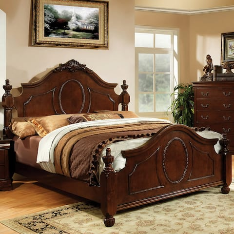 Luxurious Traditional Queen Warm Cherry Bed by FOA
