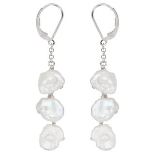 Pearlyta Sterling Silver Freshwater Keshi Pearl Dangle Earrings (10-11 mm)