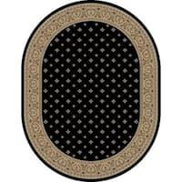 Well Woven Dallas Formal European Floral Border Diamond Field Black, Beige, Ivory Oval Area Rug - 5'3 x 6'10