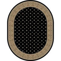 Well Woven Dallas Formal European Fl Border Diamond Field Black Beige Ivory Oval Area