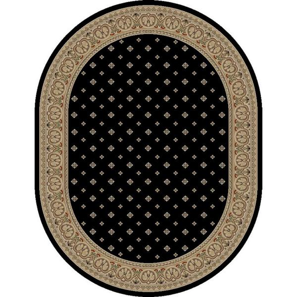 Well Woven Dallas Formal European Floral Border Diamond Field Black, Beige, Ivory Oval Area Rug - 5'3 x 6'10