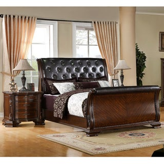 Furniture of America Luxury Brown Cherry Leatherette Baroque Style Sleigh Bed with Nightstand Bedroom Set