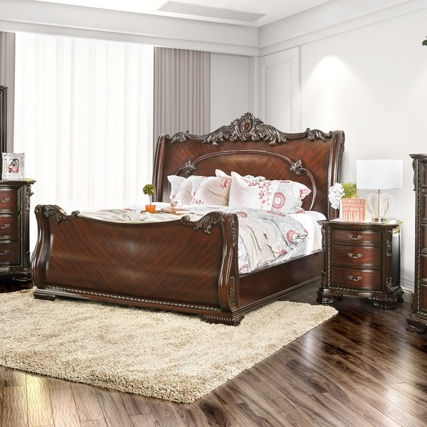 Furniture Of America Luxury Brown Cherry Baroque Style Sleigh Bed With  Nightstand Bedroom Set
