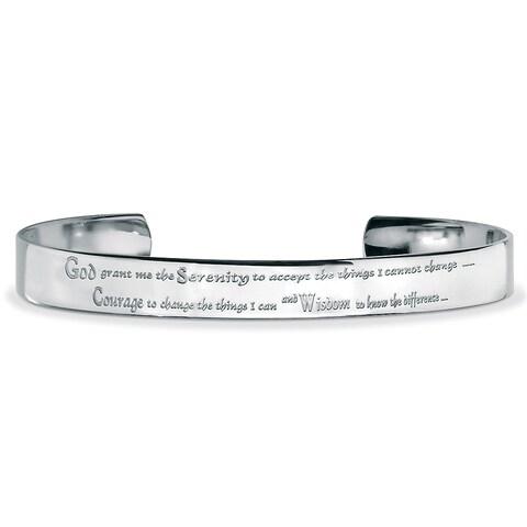 Men's Stainless Steel Inspirational 'Serenity Prayer' Cuff Bracelet