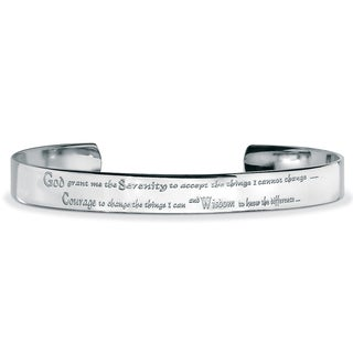 Men's Stainless Steel Inspirational 'Serenity Prayer' Cuff Bracelet