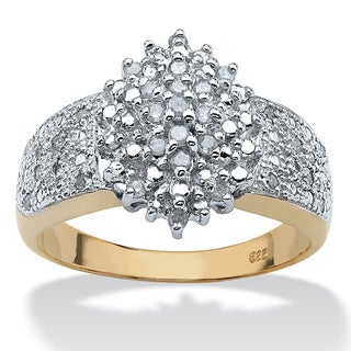 PalmBeach 1/4 TCW Round Diamond 18k Gold over Sterling Silver Marquise-Shaped Cluster Ring