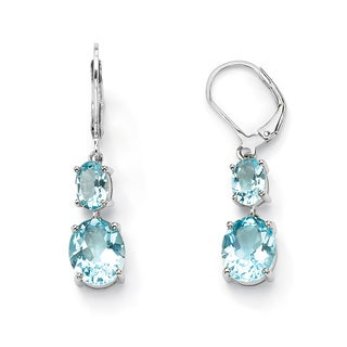 PalmBeach 9.20 TCW Oval Cut Blue Genuine Topaz Platinum over Sterling Silver Double Drop Earrings