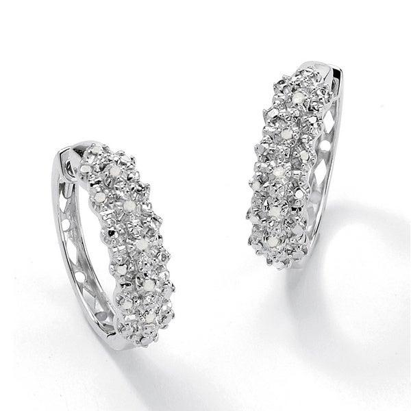 1/10 TCW Ice Diamond Huggie-Hoop Earrings in Platinum over .925 Sterling Silver. Opens flyout.