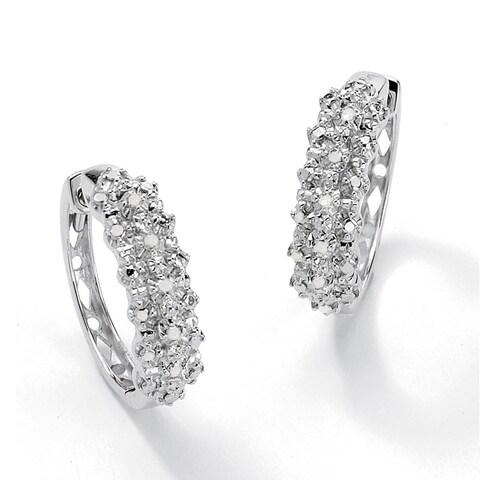 1/10 TCW Ice Diamond Hoop Earrings in Platinum over .925 Sterling Silver