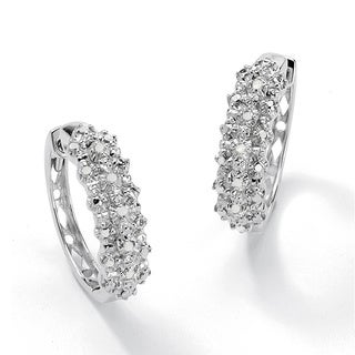 PalmBeach 1/10 TCW Ice Diamond Huggie-Hoop Earrings in Platinum over .925 Sterling Silver