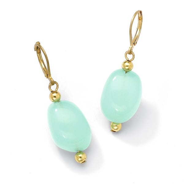 Lab-Created Chalcedony Nugget Earrings in Yellow Gold Tone Naturalist