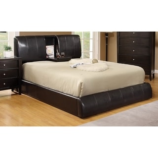 Furniture of America Ambo Padded Leatherette Platform Bed with Built-in Table