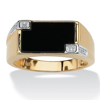 Men's Genuine Onyx and Diamond Accent Rectangular Ring in 18k Gold over .925 Sterling Silv