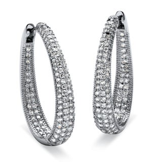 8.10 TCW Round Cubic Zirconia Silvertone Oval-Shape Inside-Out Huggie Hoop Earrings Glam C