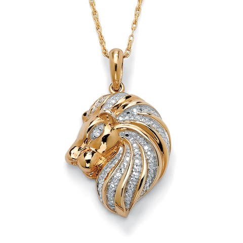 Diamond Accent 18k Gold over Sterling Silver Lion Pendant and Chain
