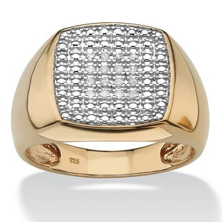 PalmBeach Men's 1/10 TCW Diamond 18k Gold over Sterling Silver Cluster Ring